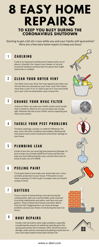 infographic showing easy home repairs that can keep a homeowner busy during the coronavirus shutdown